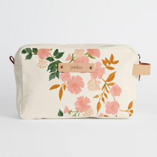 This is a pink dopp kit by Erin German called Botanical Cascade in standard.