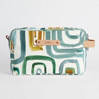 This is a blue dopp kit by Bethania Lima called Geo gym.