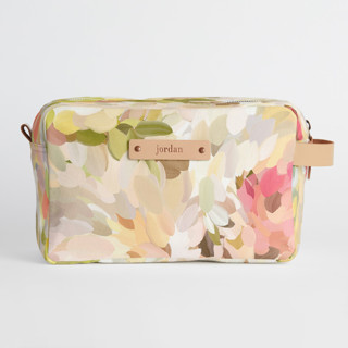 This is a pink dopp kit by Amy Hall called Spring Bloom.