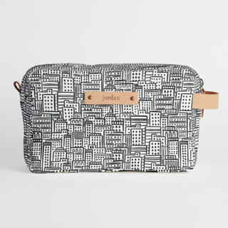 This is a black and white dopp kit by Snow and Ivy called City.