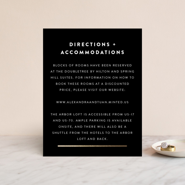 """""""Outline"""" - Modern Foil-pressed Direction Cards in Ash by Up Up Creative."""