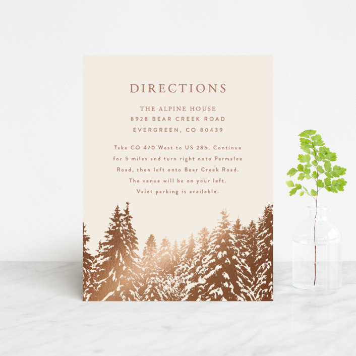"""""""Snowy Pines"""" - Rustic Foil-pressed Direction Cards in Pearl by Gratia Design Co.."""