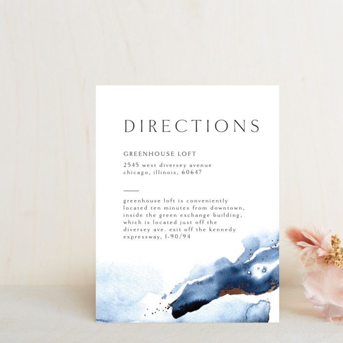 """Indigo"" - Foil-pressed Direction Cards in Storm by Anastasia Makarova."