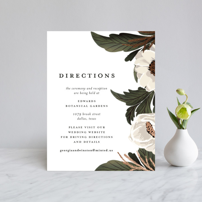 """""""Floral Sweep"""" - Rustic Foil-pressed Direction Cards in Powder by Susan Moyal."""