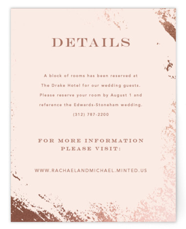 This is a modern, painterly, pink, rosegold Direction Cards by Kimberly FitzSimons called Edgy Charm with Foil Pressed printing on Signature in Card Flat Card format. A wedding invitation with a touch of edgy foiling and eye catching type.