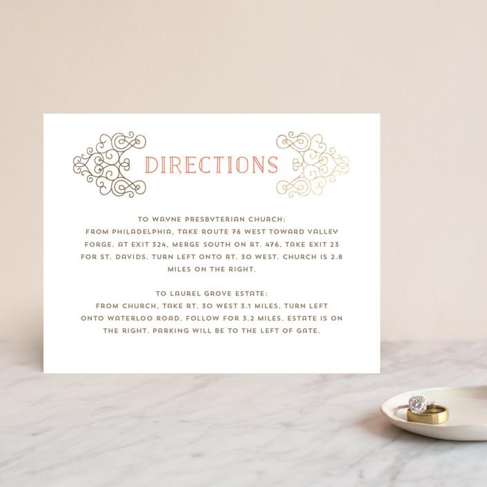"""""""Flourishing Love"""" - Vintage Foil-pressed Direction Cards in Gold by Katherine Moynagh."""