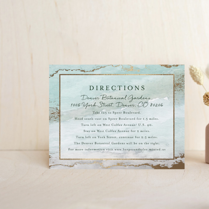 """Gilded Shore"" - Rustic, Bohemian Foil-pressed Direction Cards in Aventurine by Grace Kreinbrink."