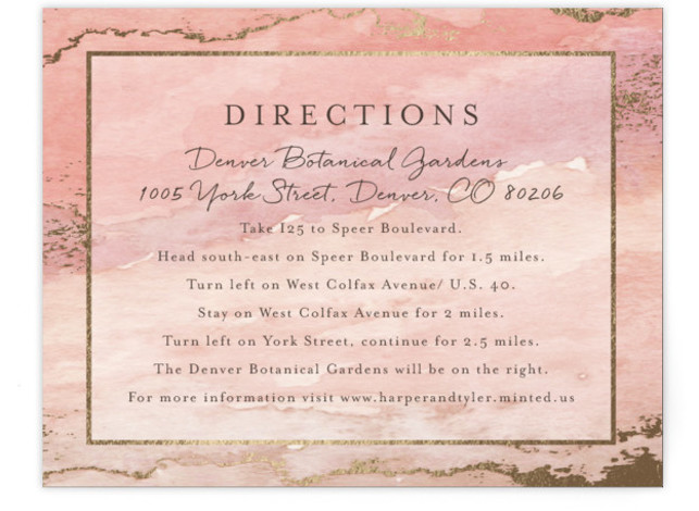This is a landscape bohemian, rustic, pink Direction Cards by Grace Kreinbrink called Gilded Shore with Foil Pressed printing on Signature in Card Flat Card format. Hand painted watercolor in muted earthy tones wit accents of gold foil create a ...