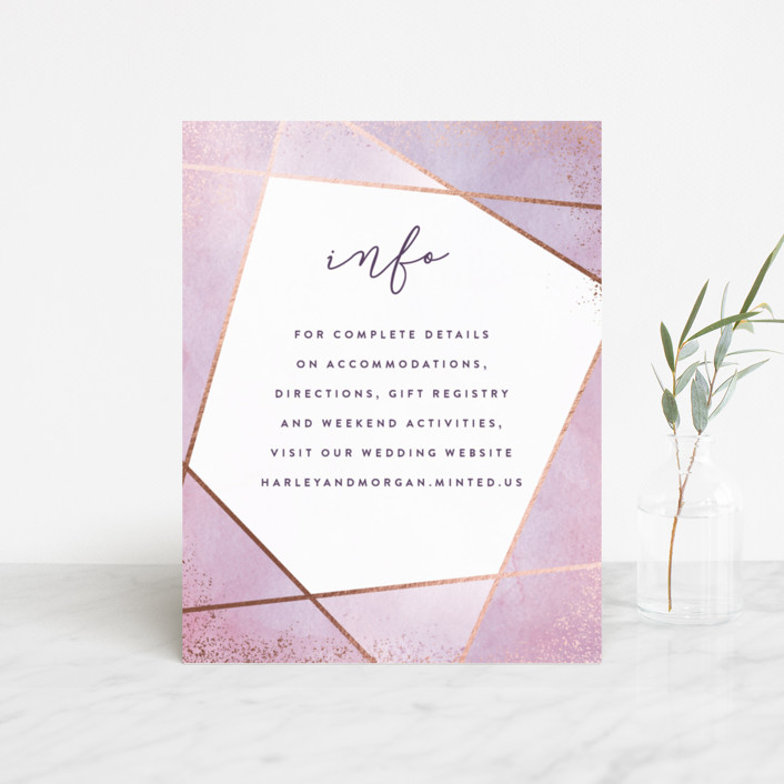 """""""Amethyst Watercolor"""" - Foil-pressed Direction Cards in Amethyst by Hooray Creative."""
