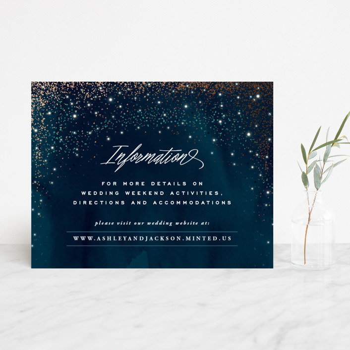 """Sparkling Night Sky"" - Foil-pressed Direction Cards in Midnight by Hooray Creative."