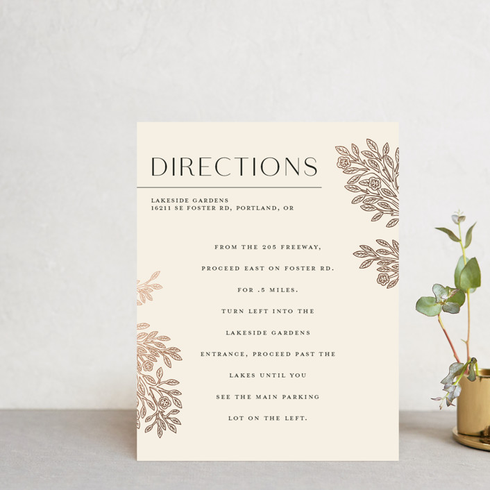 """""""Heirloom Branches"""" - Vintage Foil-pressed Direction Cards in Cream by GeekInk Design."""