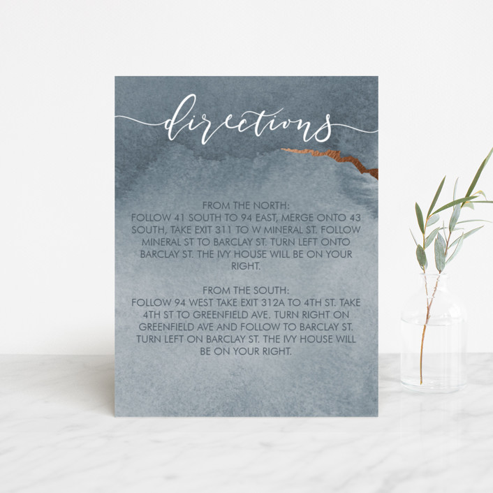 """""""Dreamy"""" - Foil-pressed Direction Cards in Dusty Blue by Danielle Cole."""