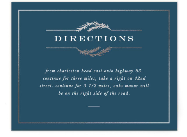 This is a classic and formal, blue, silver Direction Cards by Amy Kross called Sketched Ampersand with Foil Pressed printing on Signature in Card Flat Card format. This foil pressed wedding invitation features a beautiful hand drawn illustration and clean ...