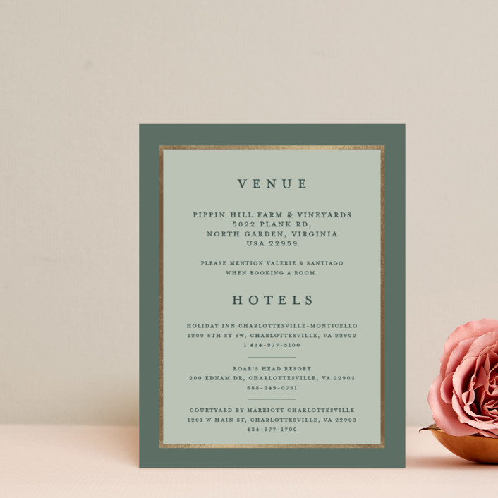 """Al Fresco"" - Modern, Bohemian Foil-pressed Direction Cards in Forest Green by Lucrecia."
