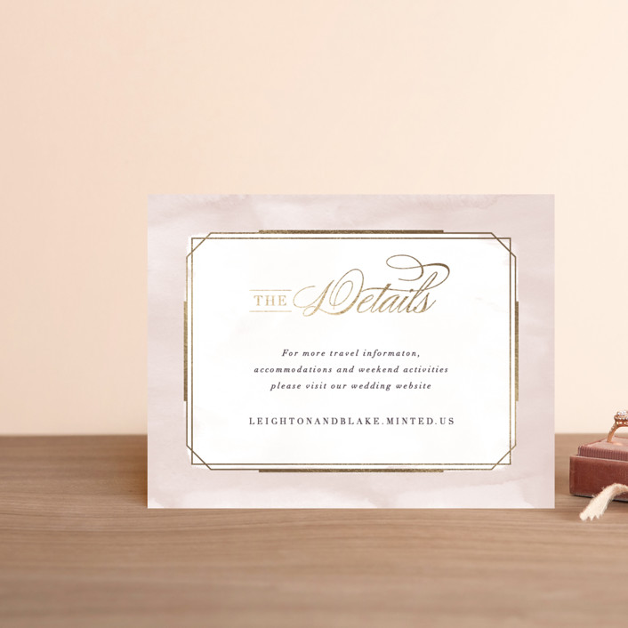 """Forever Elegant"" - Foil-pressed Direction Cards in Mauve by Hooray Creative."