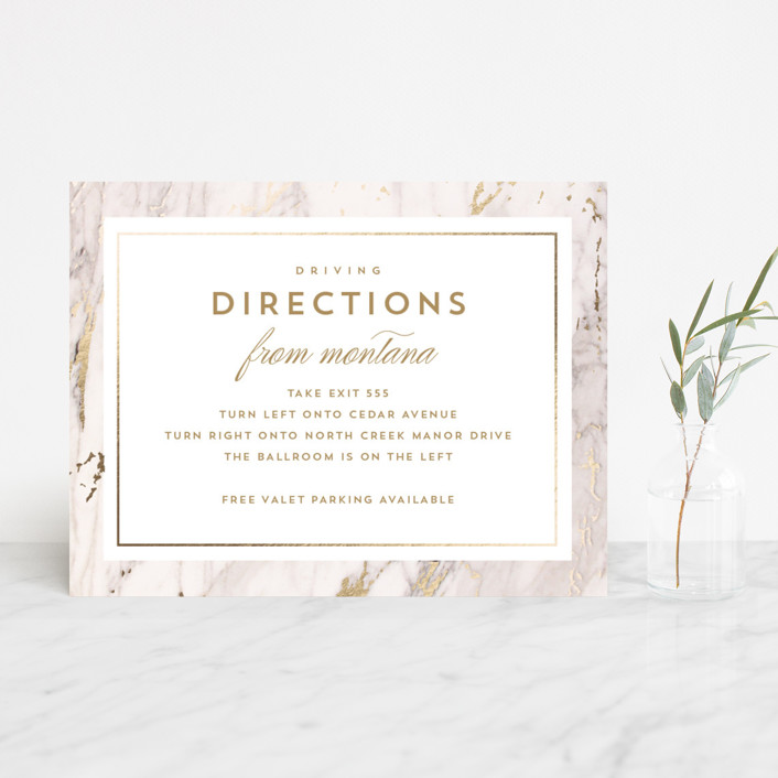 """Marble Matrimony"" - Foil-pressed Direction Cards in Mountain by AK Graphics."