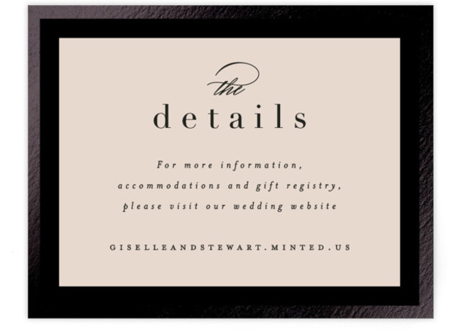 This is a portrait classic and formal, black, brown Direction Cards by Hooray Creative called Handsome Border with Foil Pressed printing on Signature in Card Flat Card format. Handsome typography and a simple, foil border.
