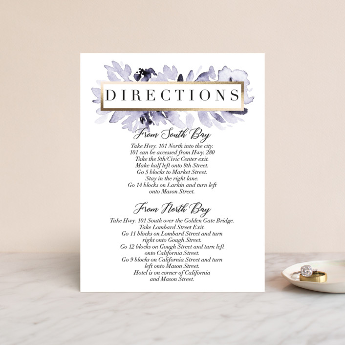 """Inky Delight"" - Foil-pressed Direction Cards in Orchid by Petra Kern."