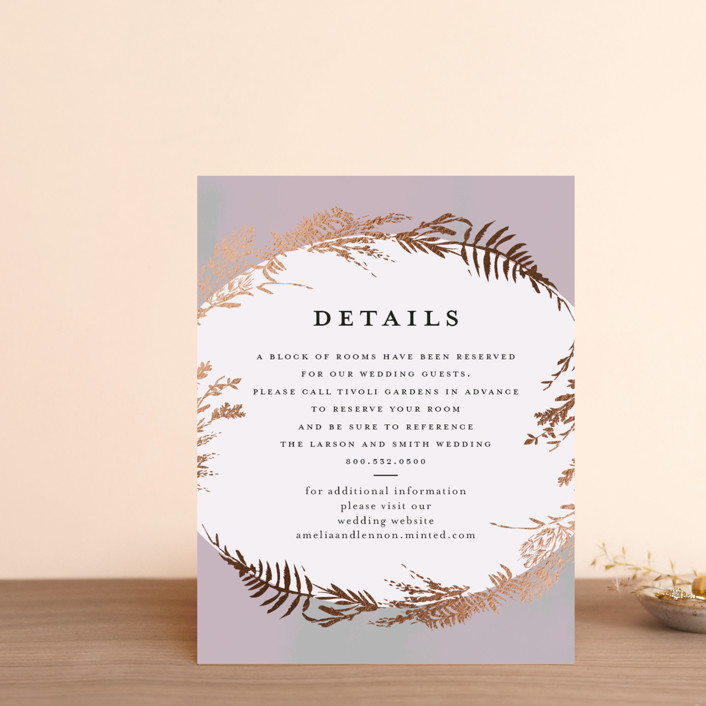 """""""Fresh Vines"""" - Rustic Foil-pressed Direction Cards in Fern by Susan Moyal."""