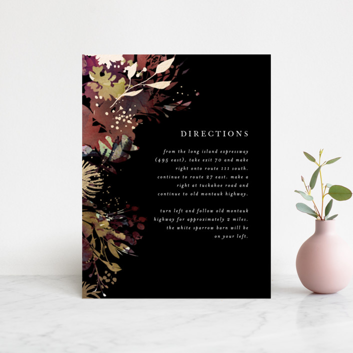 """""""Fantasy"""" - Rustic Foil-pressed Direction Cards in Noir by Lori Wemple."""