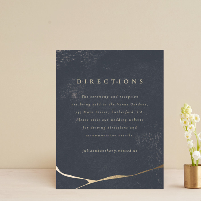 """Gemstone"" - Foil-pressed Direction Cards in Midnight by Sumak Studio."