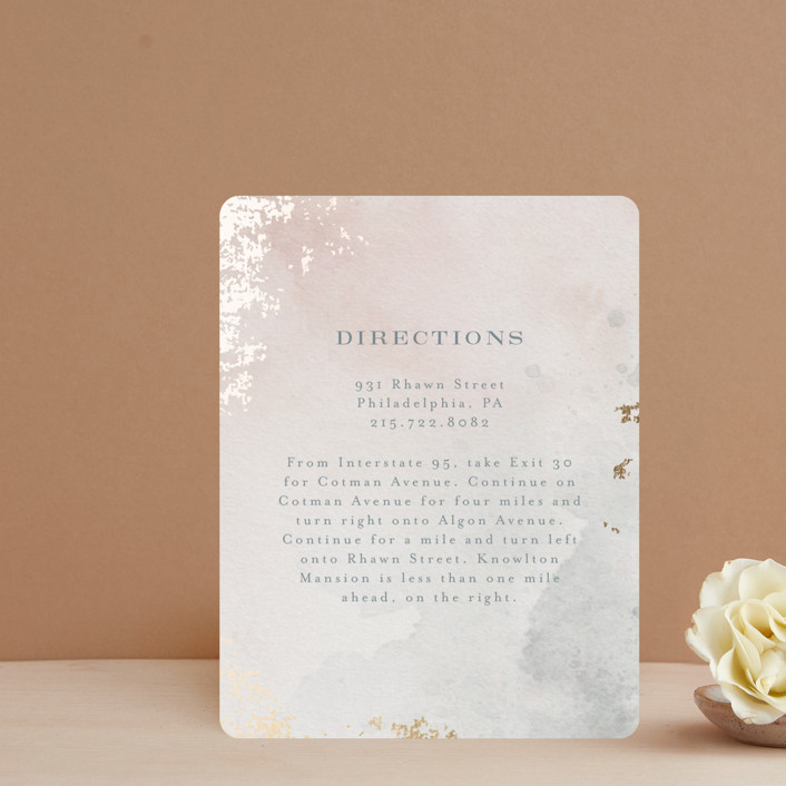 """""""Burnished"""" - Foil-pressed Direction Cards in Blush by Heather Cairl."""
