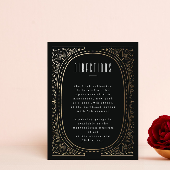 """""""Deco Starbust"""" - Vintage Foil-pressed Direction Cards in Onyx by Ana de Sousa."""