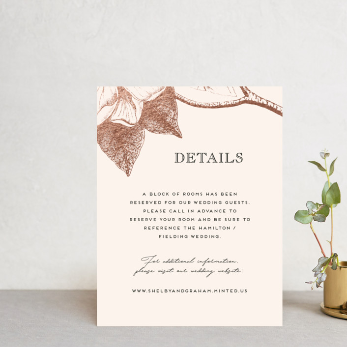 """""""The Land of Magnolias"""" - Foil-pressed Direction Cards in Blush by Design Lotus."""