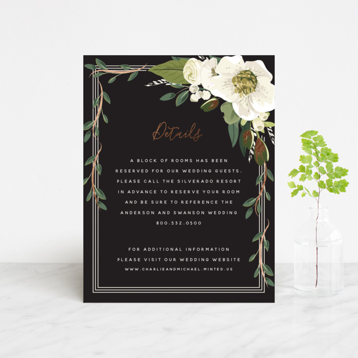 """""""Garden Blooms"""" - Foil-pressed Direction Cards in Ivory by Susan Moyal."""