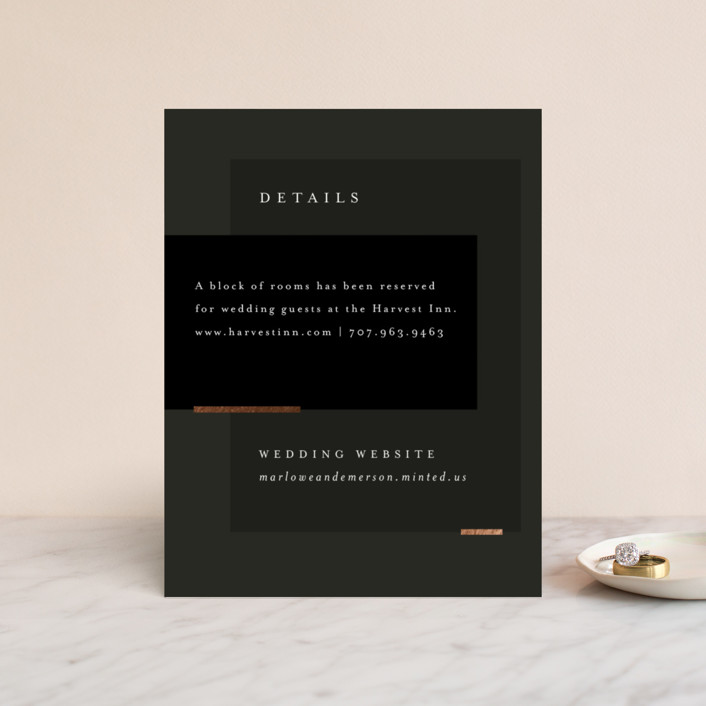 """""""Clean and Modern"""" - Foil-pressed Direction Cards in Champagne by Kelly Schmidt."""