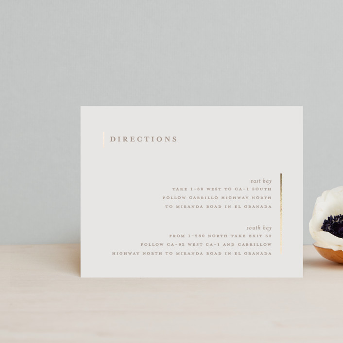 """""""Lydra"""" - Modern Foil-pressed Direction Cards in Magnolia by elena diaz."""