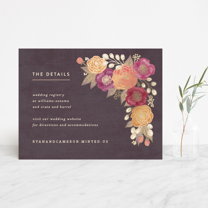 """""""Autumn Florals"""" - Rustic Foil-pressed Direction Cards in Dark Walnut by Hooray Creative."""