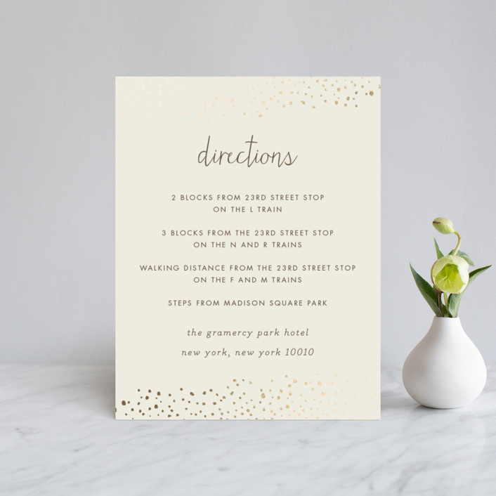 """Dewdrop"" - Modern Foil-pressed Direction Cards in Champagne by Sara Hicks Malone."