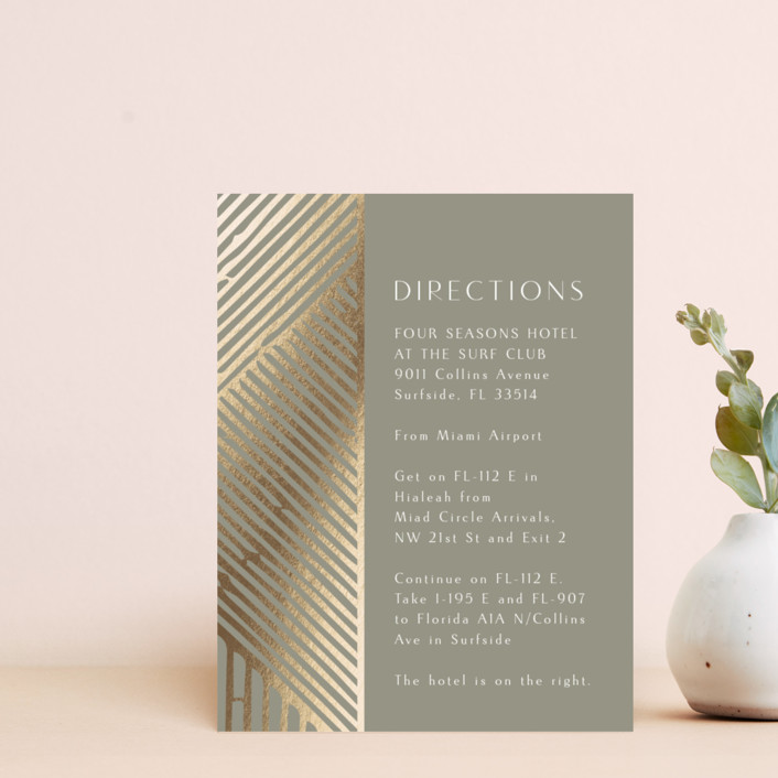 """Wedding Lines"" - Bohemian Foil-pressed Direction Cards in Putty by Chris Griffith."