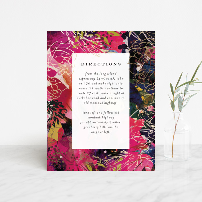 """""""Blooming Beauty"""" - Foil-pressed Direction Cards in Tan by Lori Wemple."""