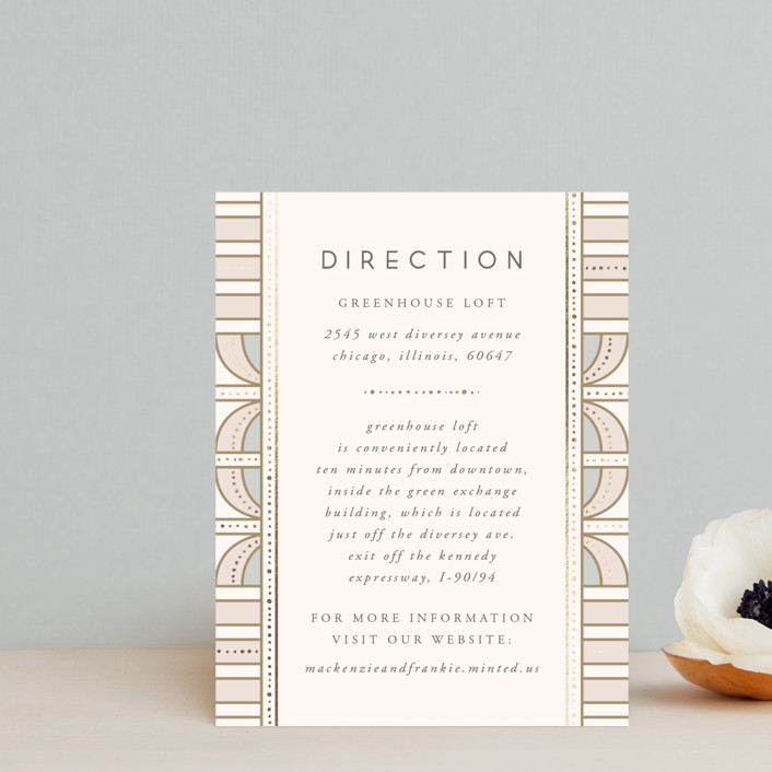 """art deco mood"" - Vintage Foil-pressed Direction Cards in Ivory by Anastasia Makarova."