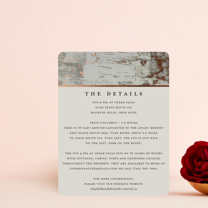 """""""Gilded birch bark"""" - Rustic Foil-pressed Direction Cards in Clay by Heather Schertzer."""