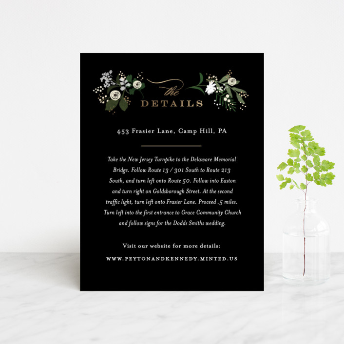 """""""Stacked wedding"""" - Foil-pressed Direction Cards in Midnight by Jennifer Wick."""