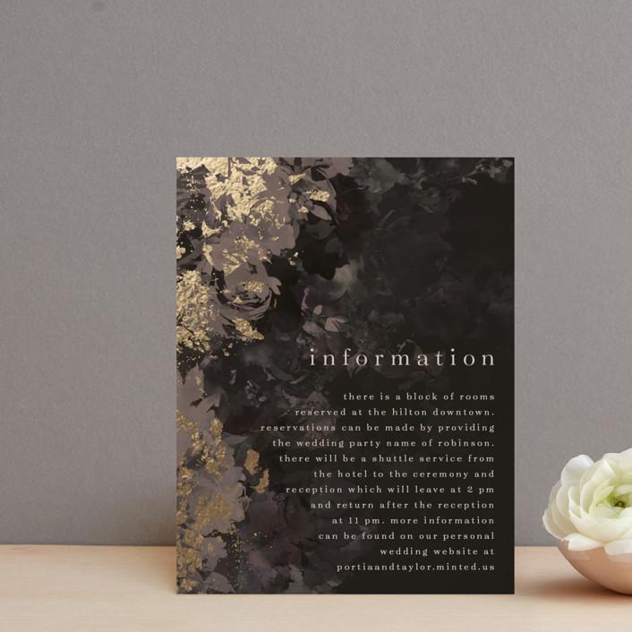 """Tuxedo Blooms"" - Foil-pressed Direction Cards in Mushroom by Grace Kreinbrink."