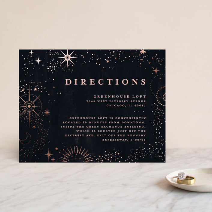 """look at the stars"" - Bohemian Foil-pressed Direction Cards in Midnight by Anastasia Makarova."