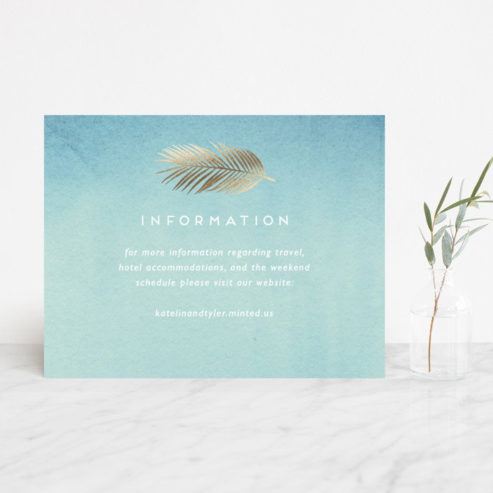 """Sea Crest"" - Modern Foil-pressed Direction Cards in Turquoise by Kaydi Bishop."