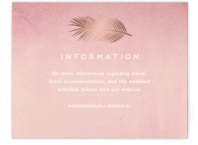 This is a modern, painterly, pink, rosegold Direction Cards by Kaydi Bishop called Sea Crest with Foil Pressed printing on Signature in Card Flat Card format. Hand painted watercolor oceans waves with crests of gold.