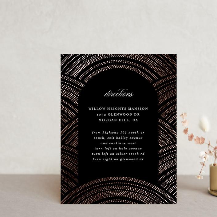 """Curvilinear"" - Vintage Foil-pressed Direction Cards in Midnight by Erica Krystek."