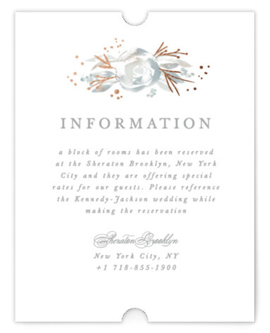 This is a portrait botanical, painterly, rustic, grey Direction Cards by Creo Study called Blooming border with Foil Pressed printing on Signature in Card Flat Card format. An ethereal frame of watercolor florals and foiled accents make beautiful garden wedding ...