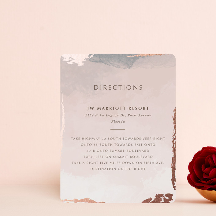 """""""Watercolor Sunset"""" - Foil-pressed Direction Cards in Sunset Rose by Stellax Creative."""