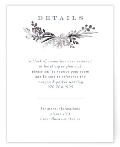 This is a portrait botanical, painterly, rustic, blue, grey Direction Cards by Petra Kern called gilded wreath with Foil Pressed printing on Signature in Card Flat Card format. Gilded gentle greenery design hugs couples name in nature inspired wedding invitation. ...