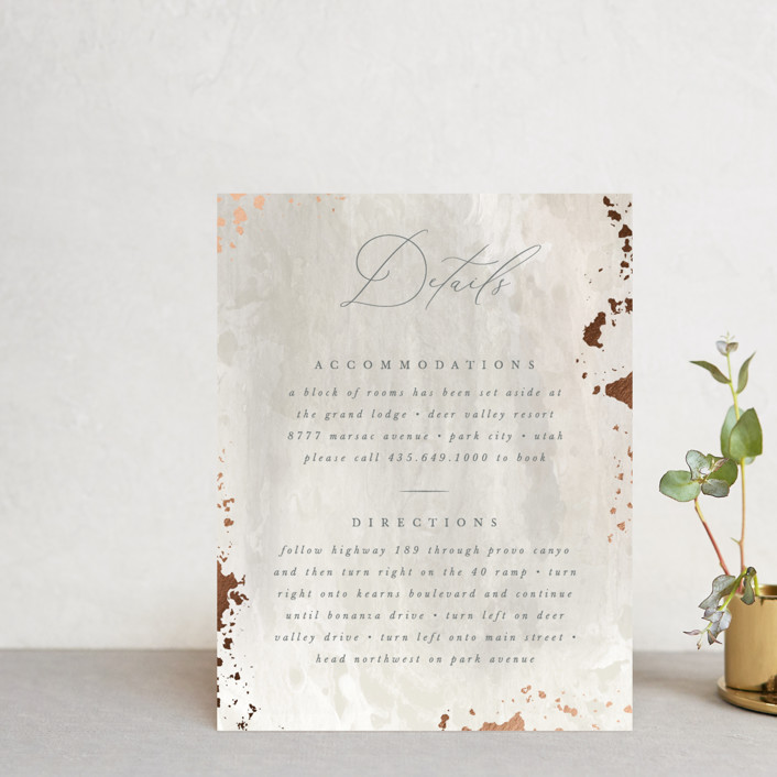 """Fresco"" - Modern Foil-pressed Direction Cards in Plaster by Robert and Stella."