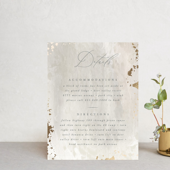 """""""Fresco"""" - Bohemian Foil-pressed Direction Cards in Plaster by Robert and Stella."""
