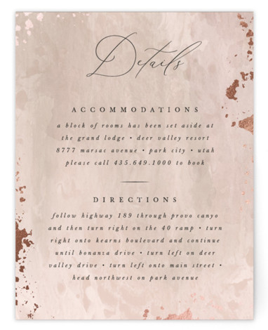 This is a portrait modern, painterly, pink Direction Cards by Robert and Stella called Fresco with Foil Pressed printing on Signature in Card Flat Card format. A romantic wedding invitation inspired by european fresco and gilded details
