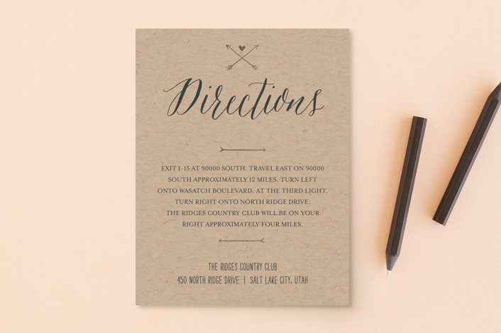 """With Joy"" - Bold typographic Foil-pressed Direction Cards in Bowtie by Eric Clegg."